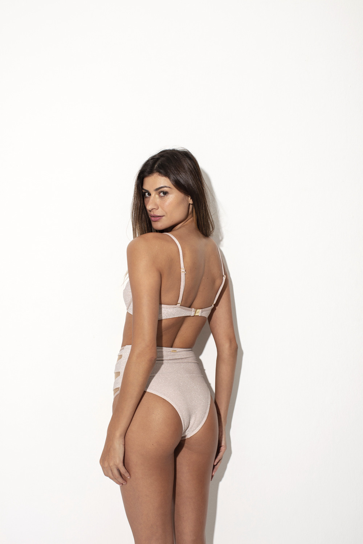 Calcinha Hot Pants Ellora Lurex Nude